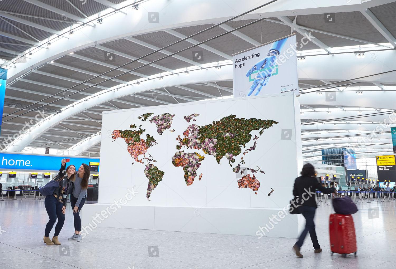 Giant Floral Map World Unveiled Heathrow Celebrate Stock Photo