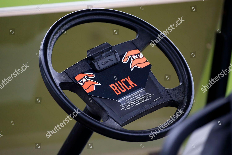 Buck Showalter This steering wheel golf cart Editorial Stock