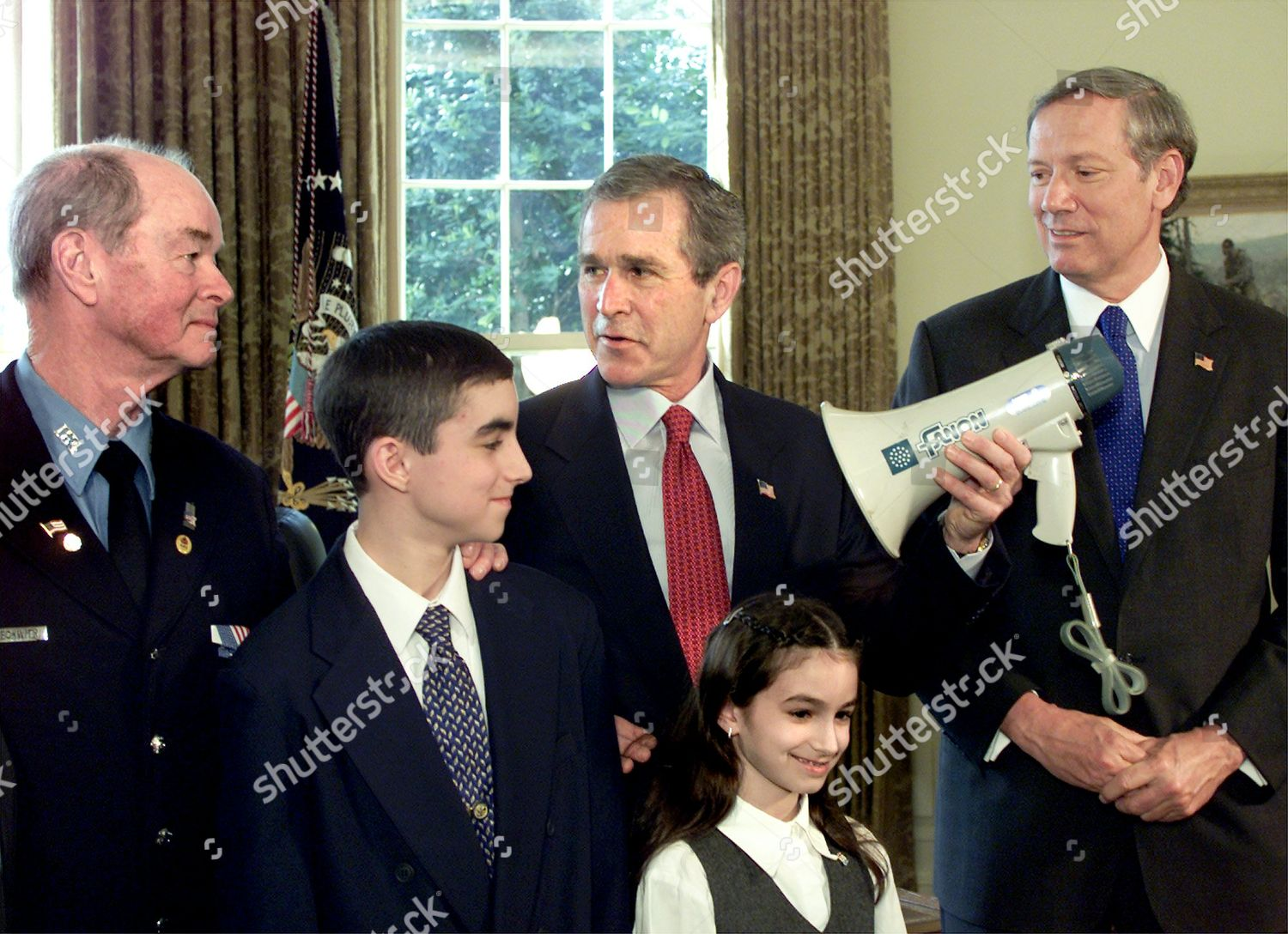 Editorial Stock Photo Of Beckwith President Bush Holds Bullhorn