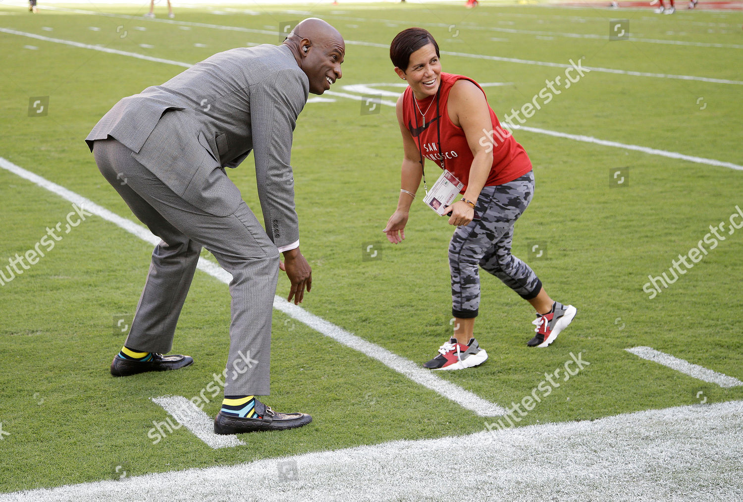 sneakers for cheap 107f1 5092c Deion Sanders Former NFL player broadcaster Deion Editorial ...