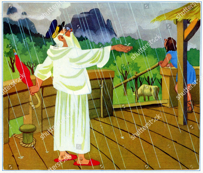 Religion Beginning Deluge Illustration by Marcel Vidoudez
