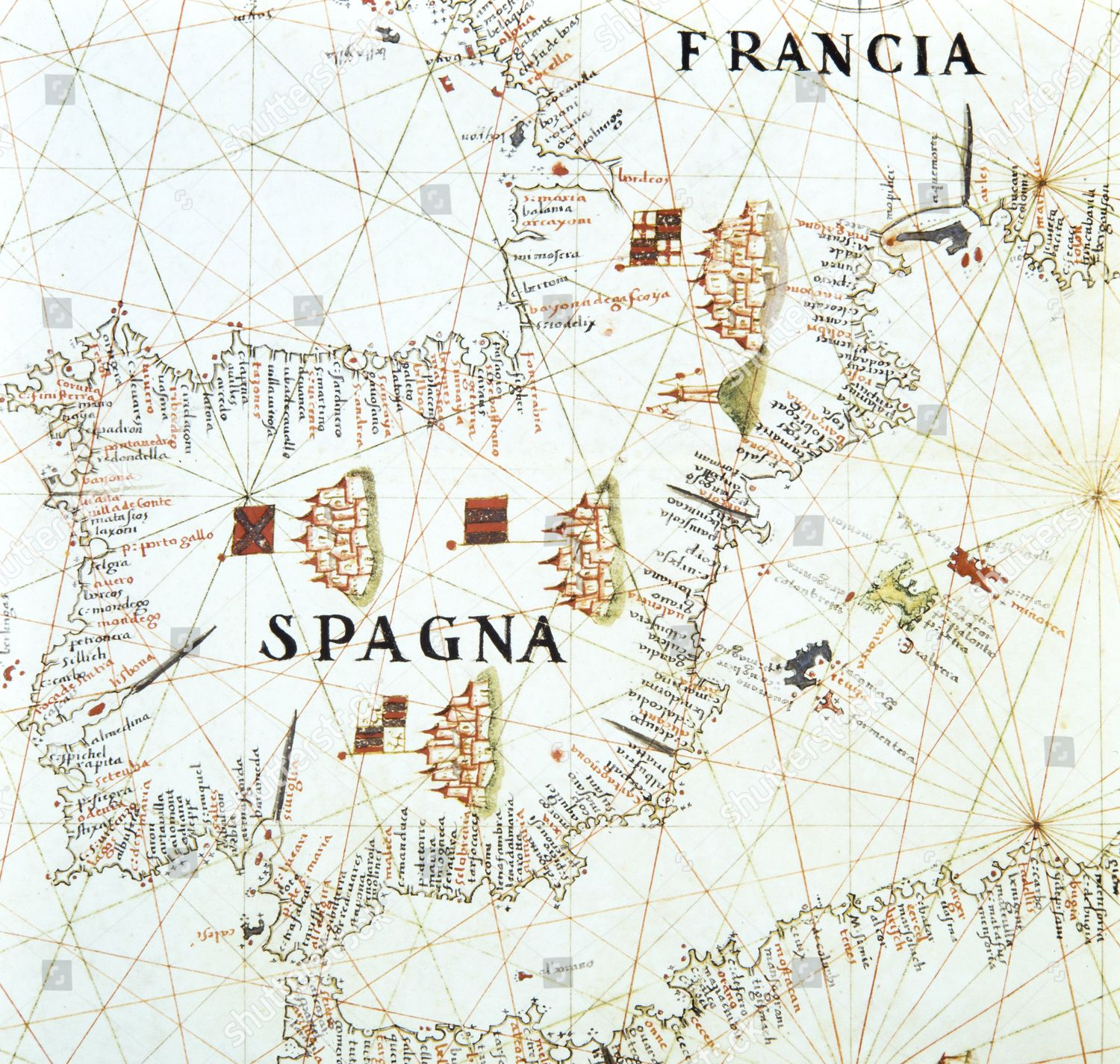 Map Of West Coast Of France.Map Spain Detail West Coast France Atlas Editorial Stock Photo