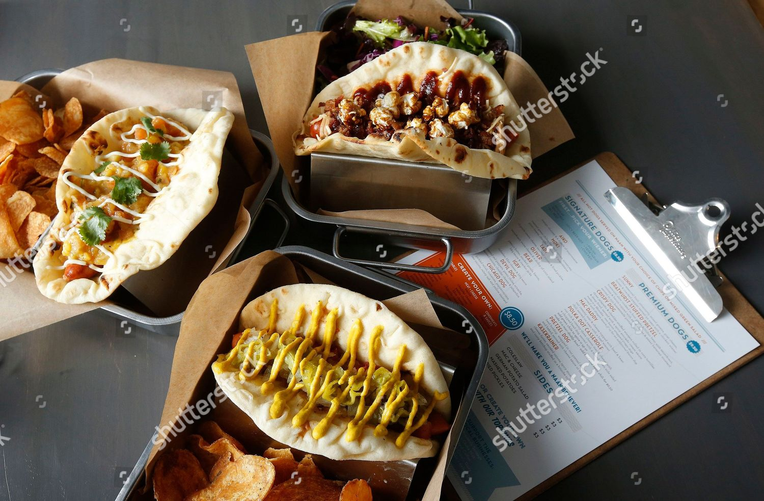 Three Hotdog Offerings Short Leash Restaurant Bear Editorial Stock