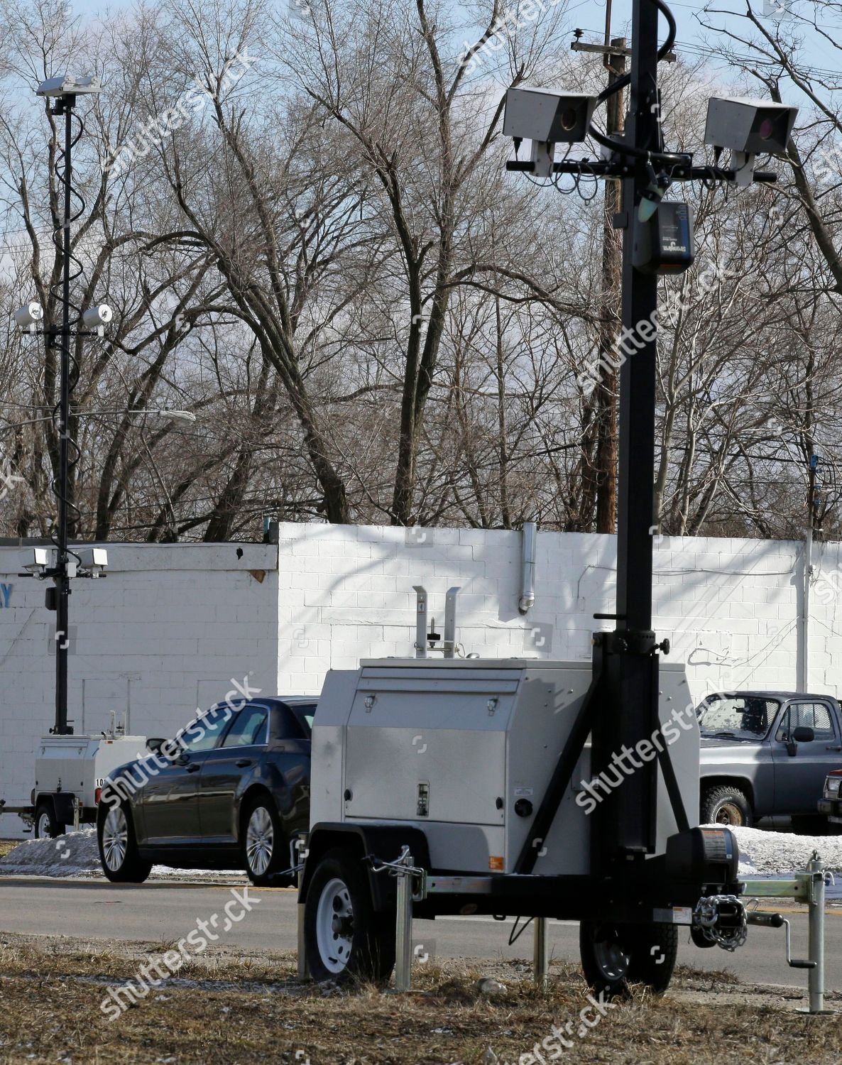 pair speed cameras aimed opposite directions on Editorial Stock