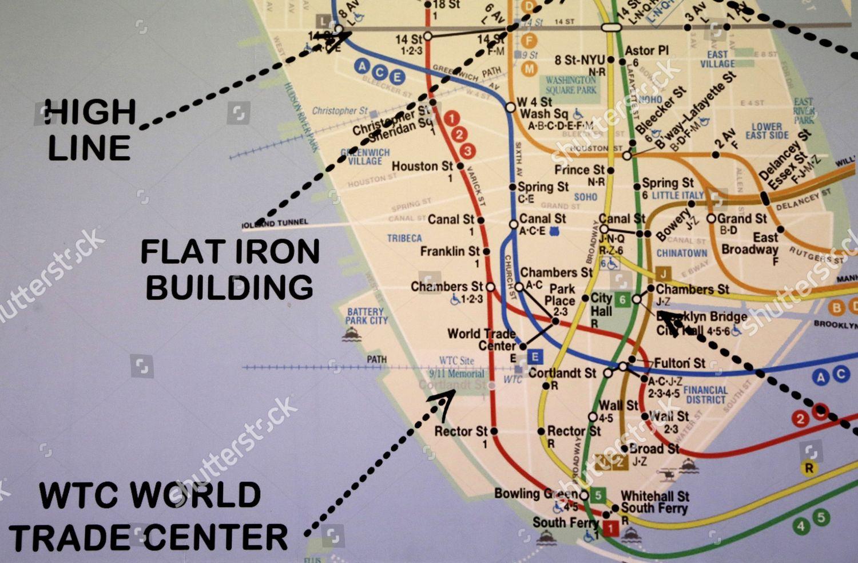 Nyc Subway Map Pics Stock.New York City Subway Map Lower Manhattan Editorial Stock Photo
