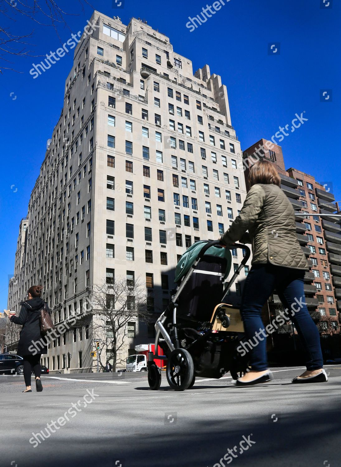 740 Park Avenue Woman Pushes Stroller Past Editorial Stock Photo