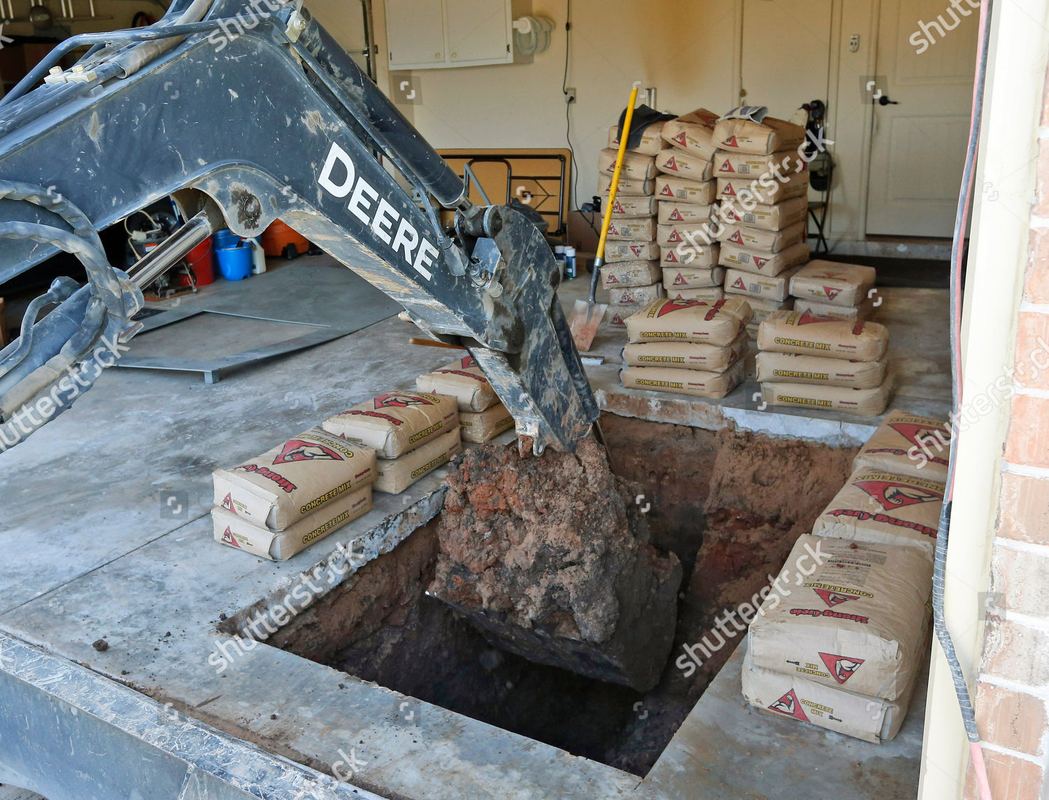 Shelter From Storm With Devices >> Equipment Used Dig Hole Storm Shelter By Editorial Stock Photo
