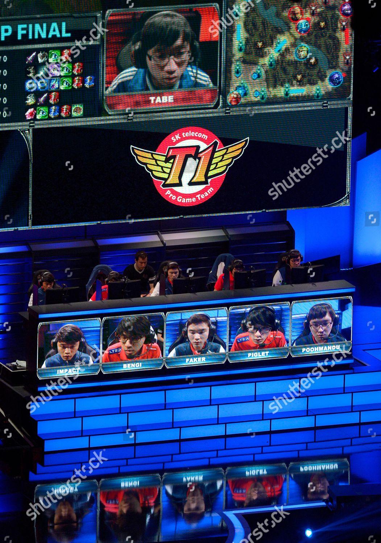 Members South Koreas SK Telecom T1 below Editorial Stock Photo