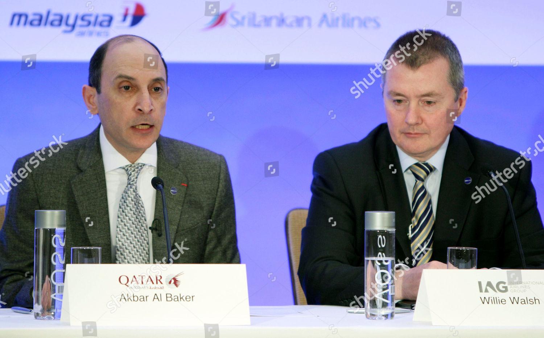 Akbar Al Baker Willie Walsh CEO Qatar Editorial Stock Photo