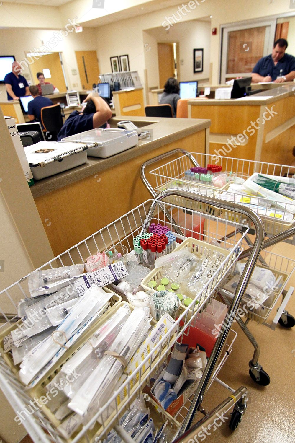 basket medical supplies await storage by staff Editorial