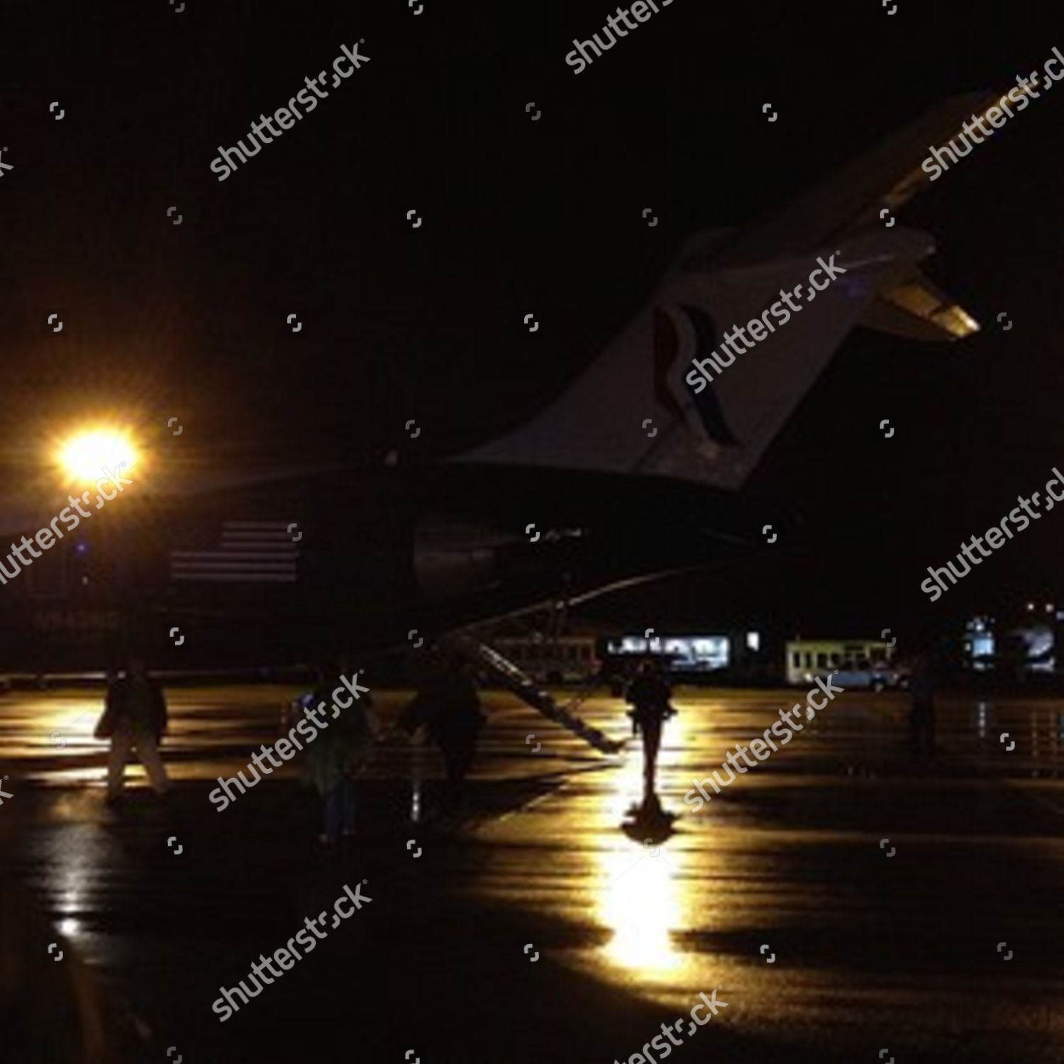 Returning Romney charter plane drizzle aponthetrail Editorial Stock