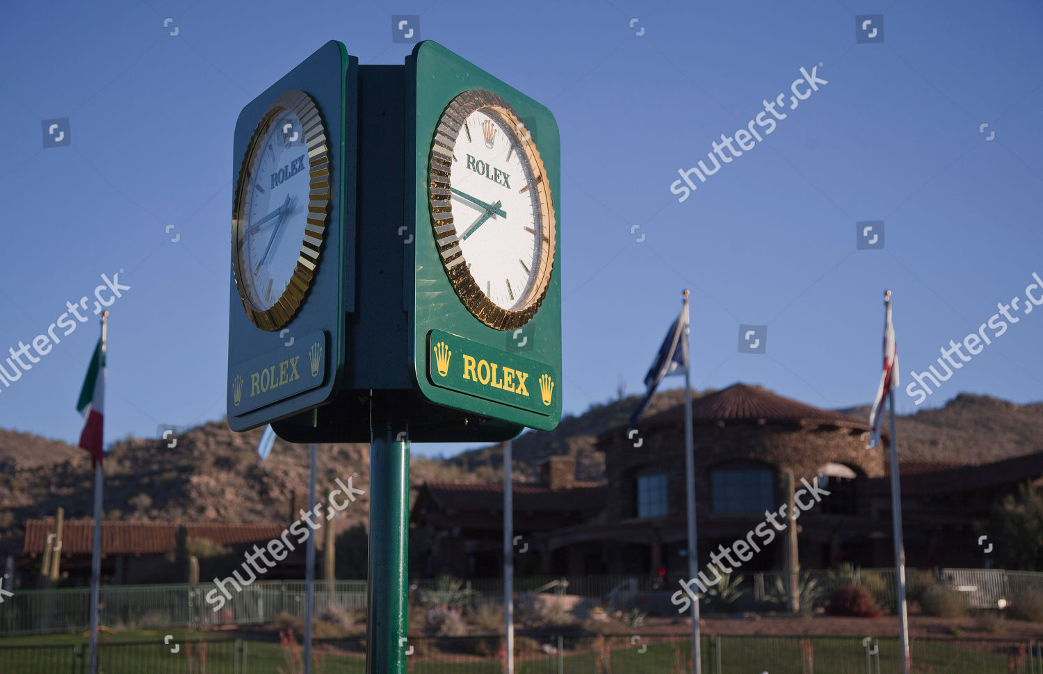 Rolex clock keeps time outside clubhouse Ritz Editorial
