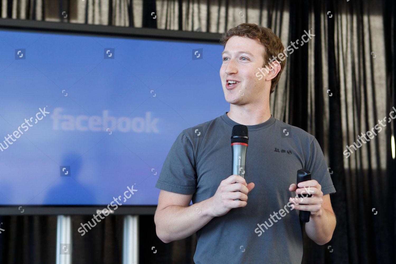Mark Zuckerberg Facebook CEO Mark Zuckerberg talks Editorial Stock