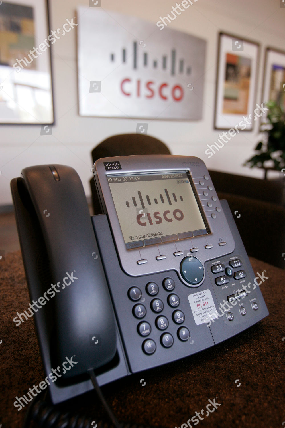 Cisco IP phone shown Cisco headquarters San Editorial Stock