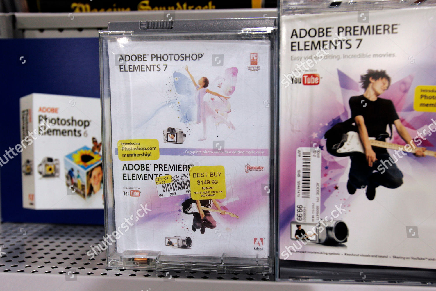 Adobe products Premiere Photoshop Elements on display