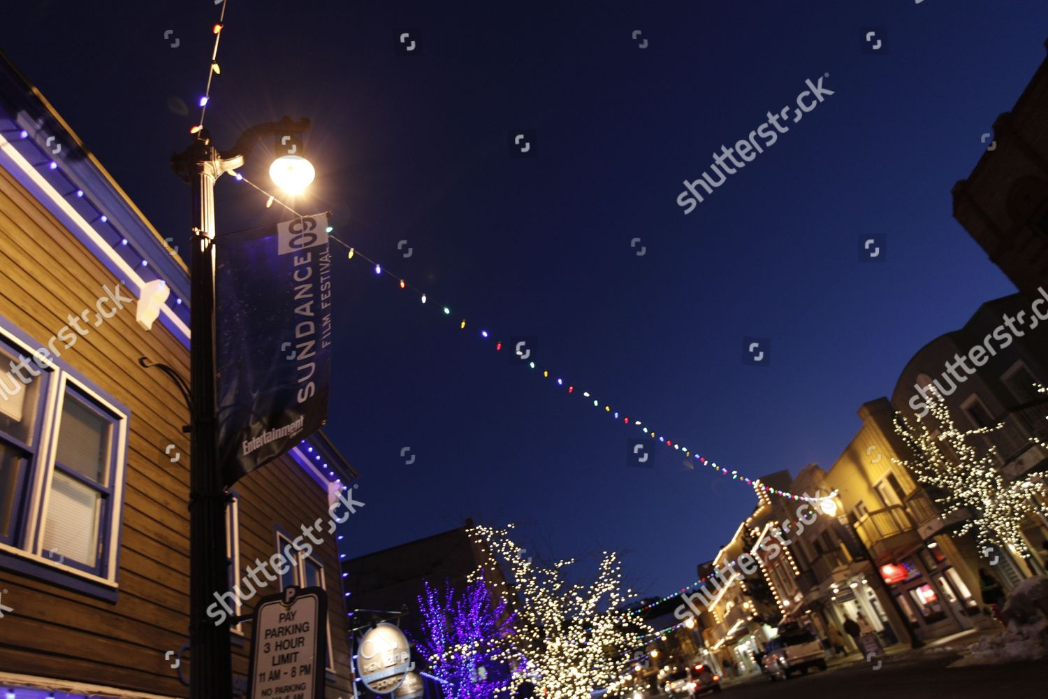 String Lights Hung Lightposts On First Day Editorial Stock Photo