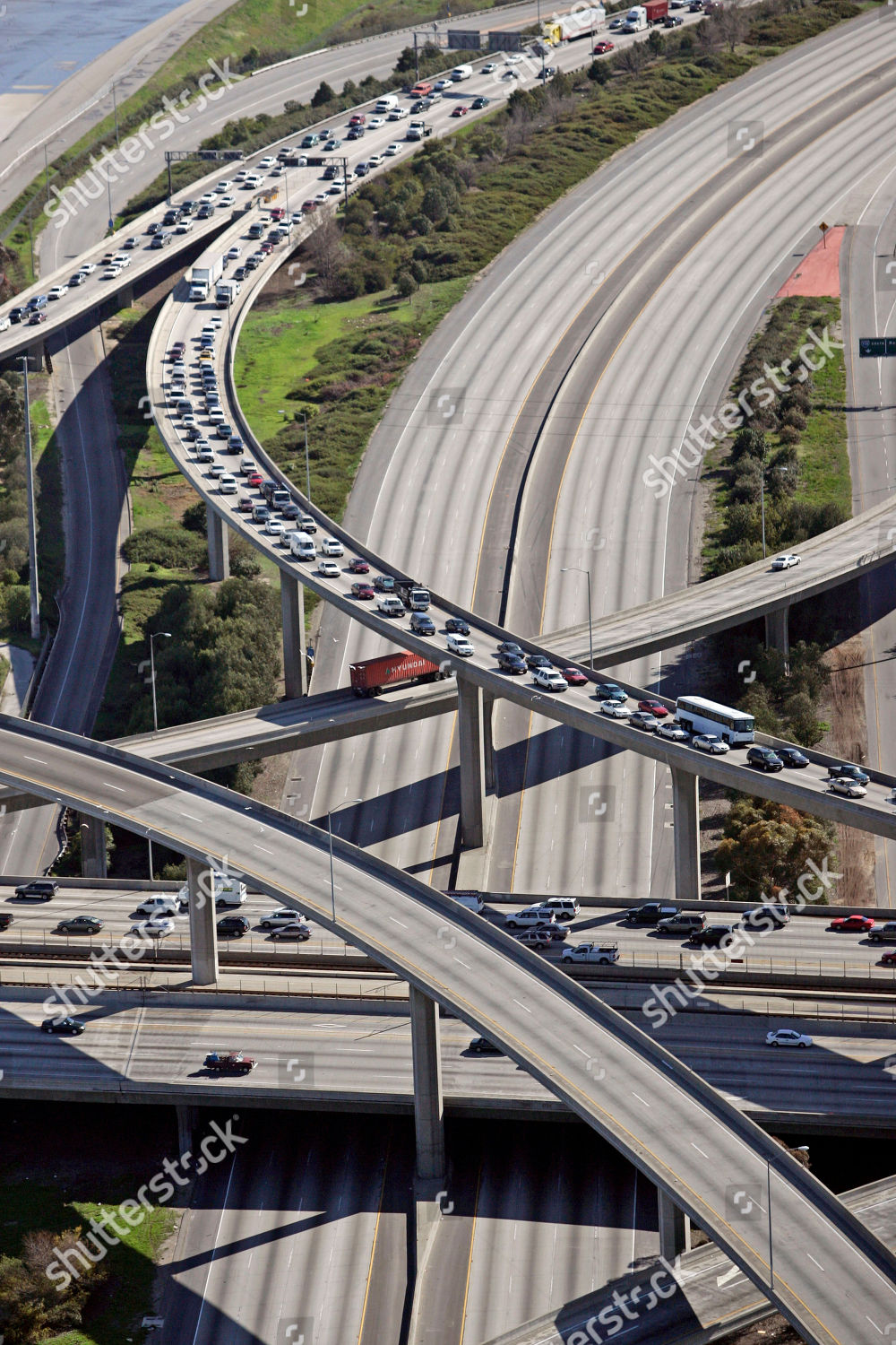 Long Beach Freeway I710 two center lanes Editorial Stock Photo