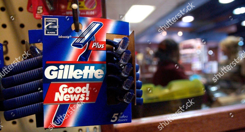 Gillette Good News razors rest on shelf Editorial Stock