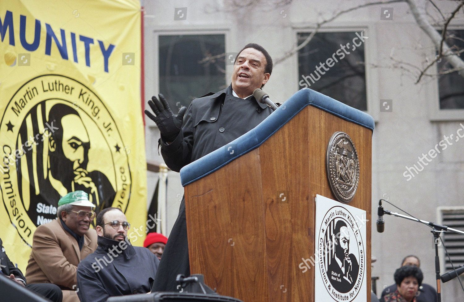 Andrew Young addresses rally sponsored by states Editorial Stock