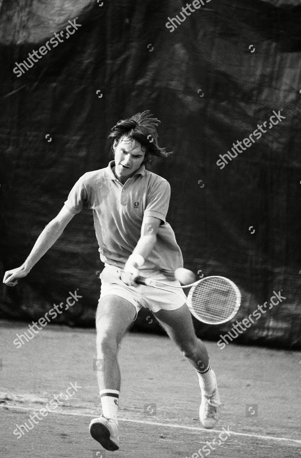 Jimmy Connors his Prince Valiant haircut flying Editorial