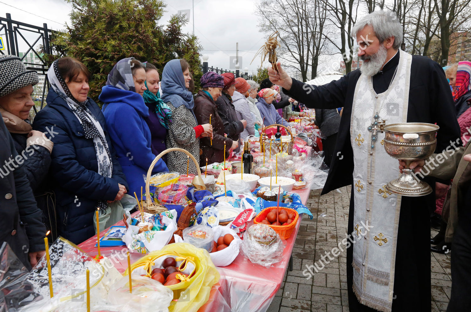 Orthodox Priest Blesses Traditional Easter Cakes Painted Editorial