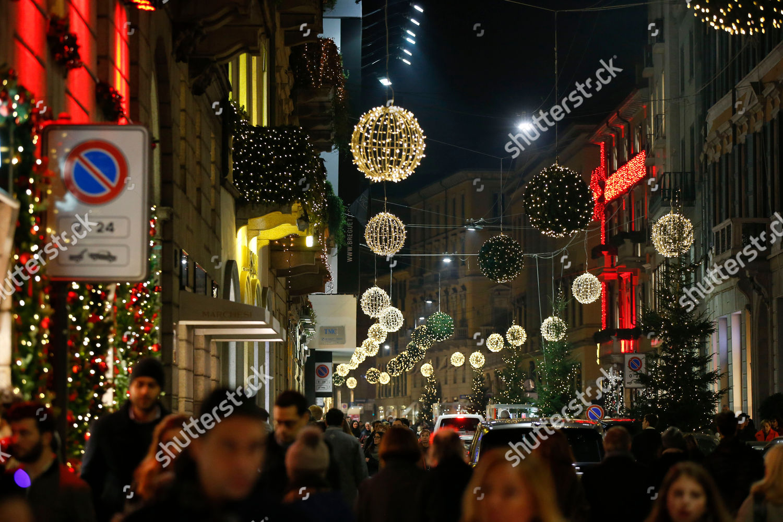 Christmas Decorations Light Via Montenapoleone Main Shopping