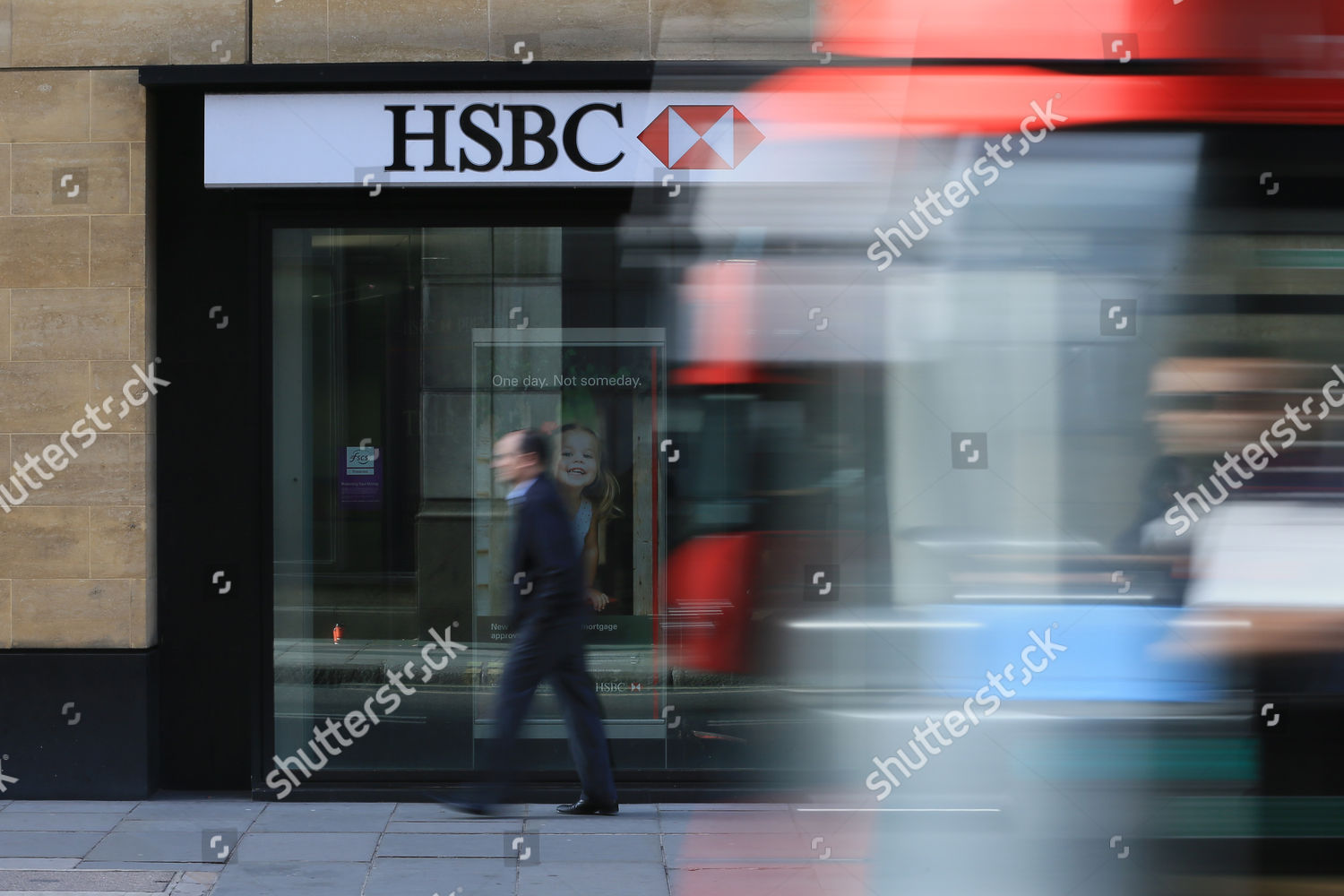 bus drives past branch HSBC near Liverpool Editorial Stock Photo