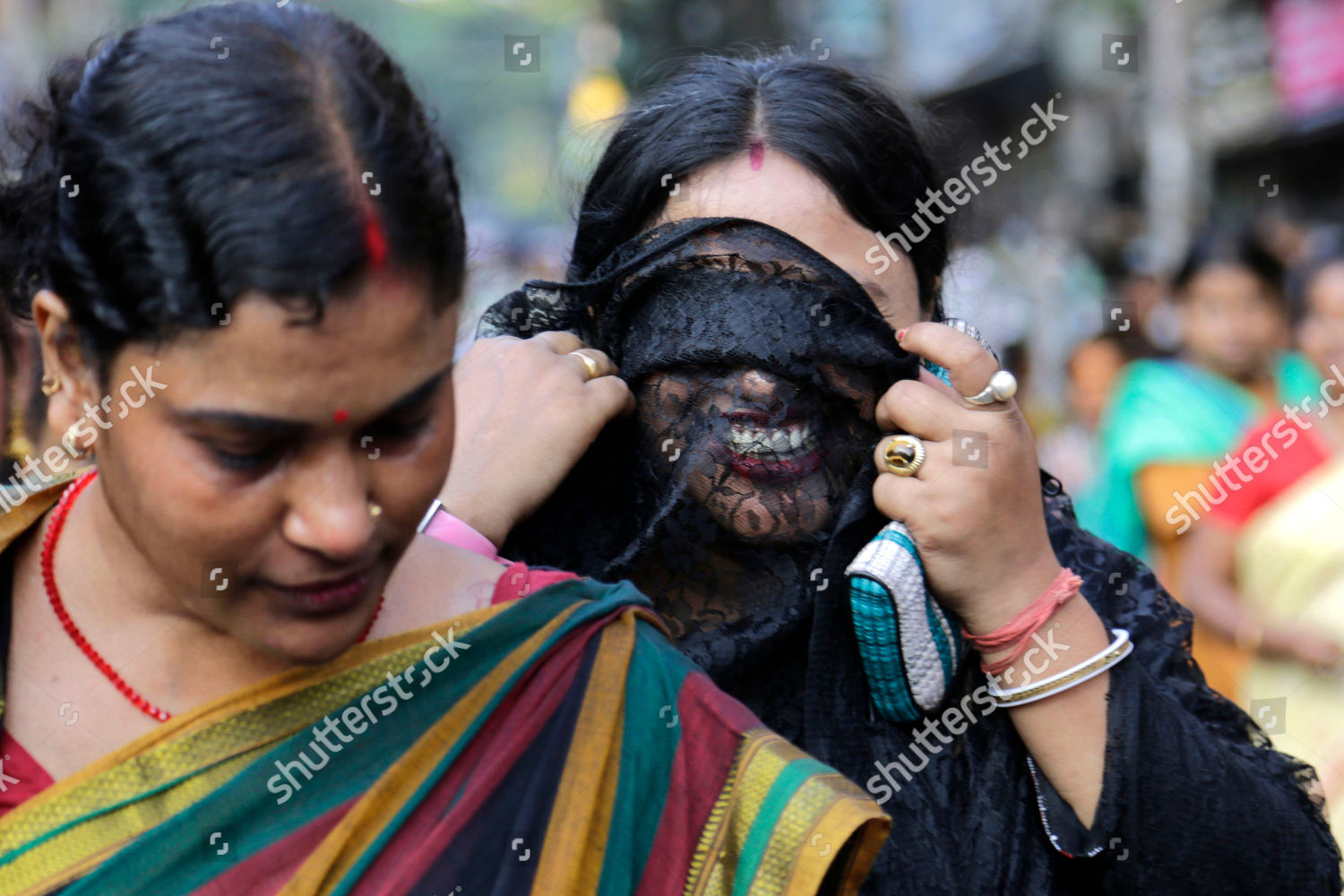 Indian sex worker covers her face veil Editorial Stock Photo - Stock