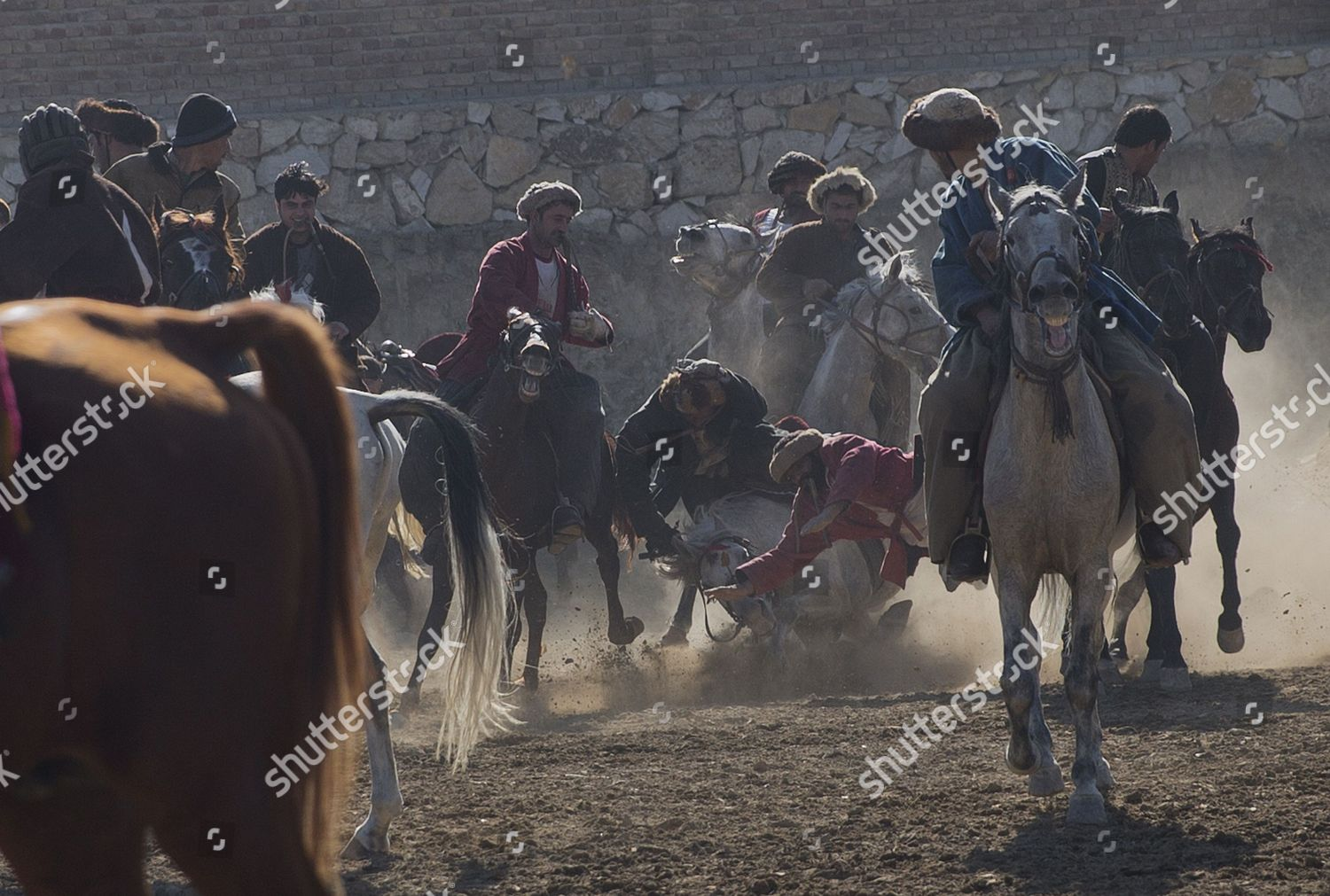 Afghan horse riders compete goat during friendly Editorial Stock