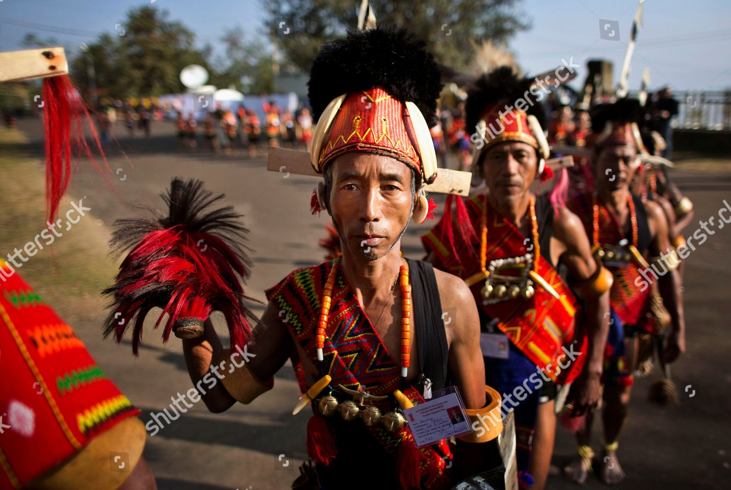 Naga people traditional attire wait perform before Editorial Stock