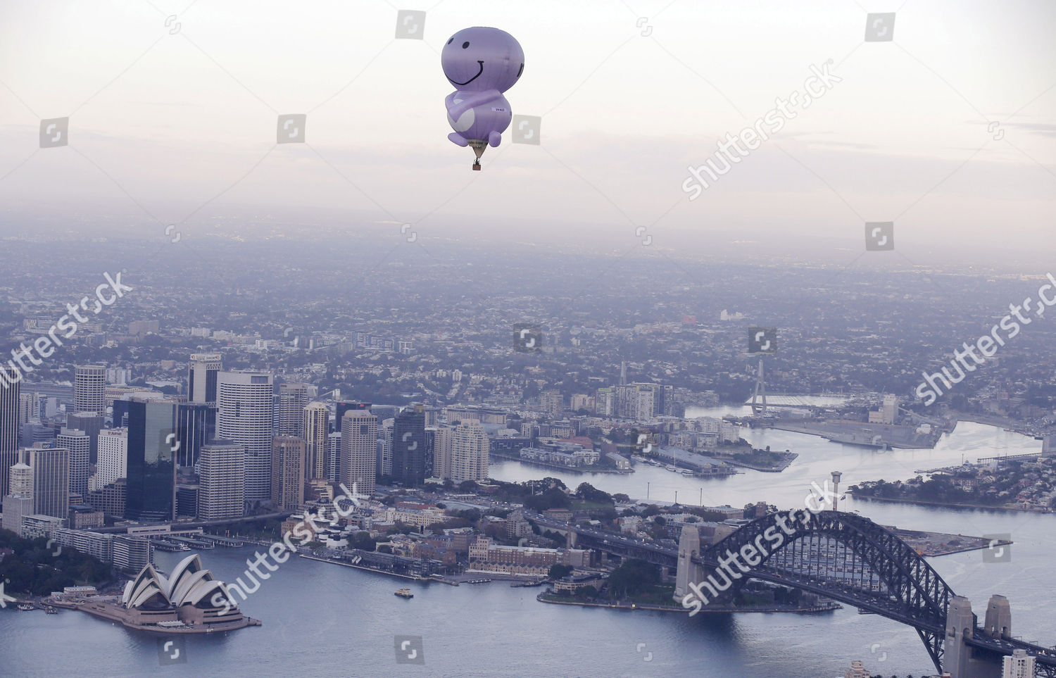 hot air balloon fruit juice company called Editorial Stock Photo