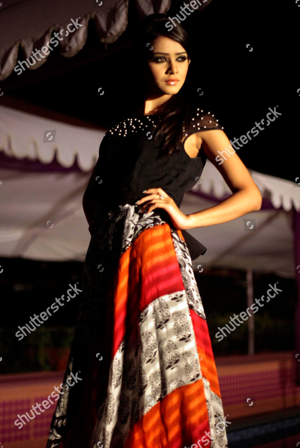 This Model Showcases Outfit Bangladeshi Designer During Editorial Stock Photo Stock Image Shutterstock