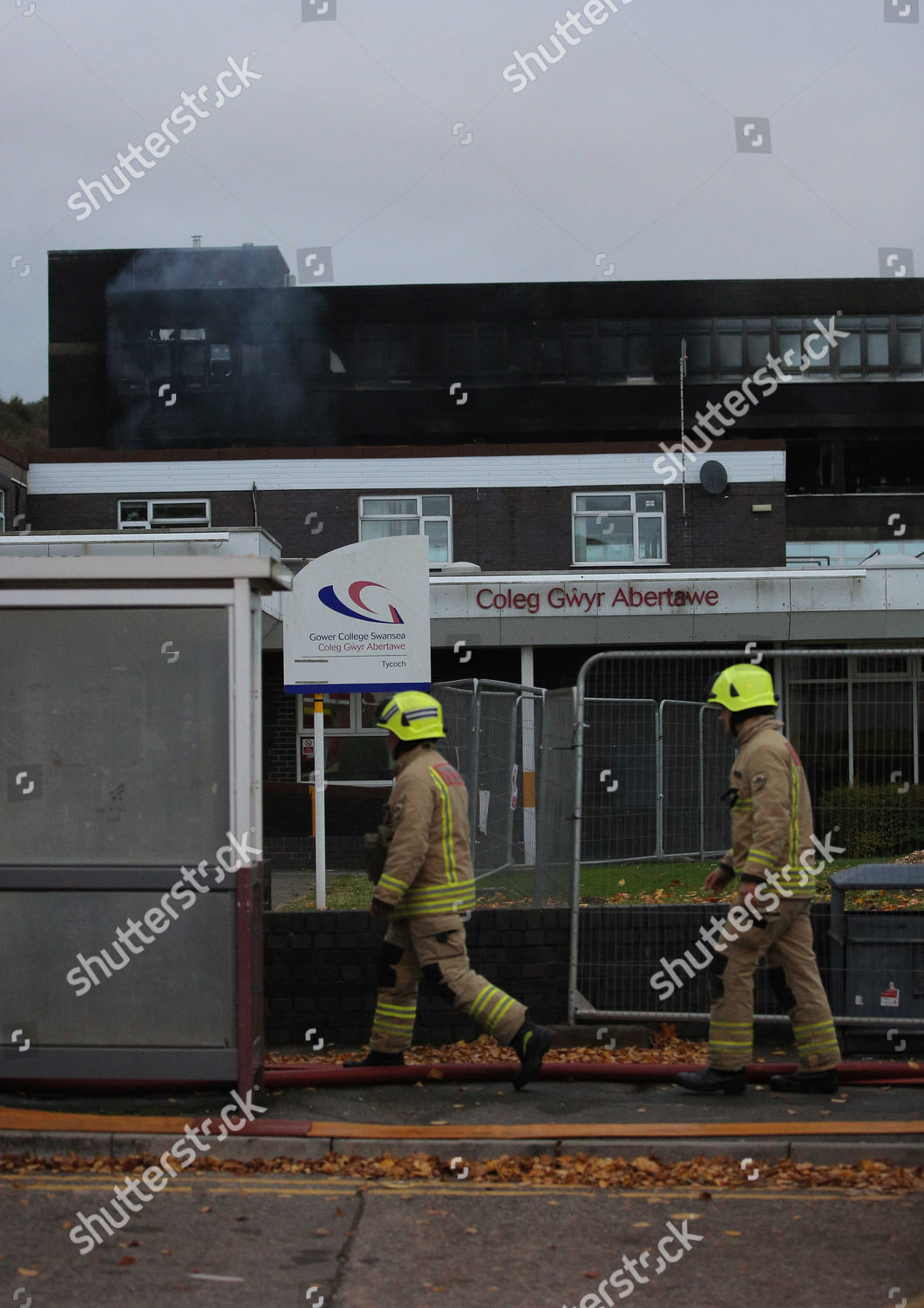 closed off Tycoch Road scene large fire Editorial Stock