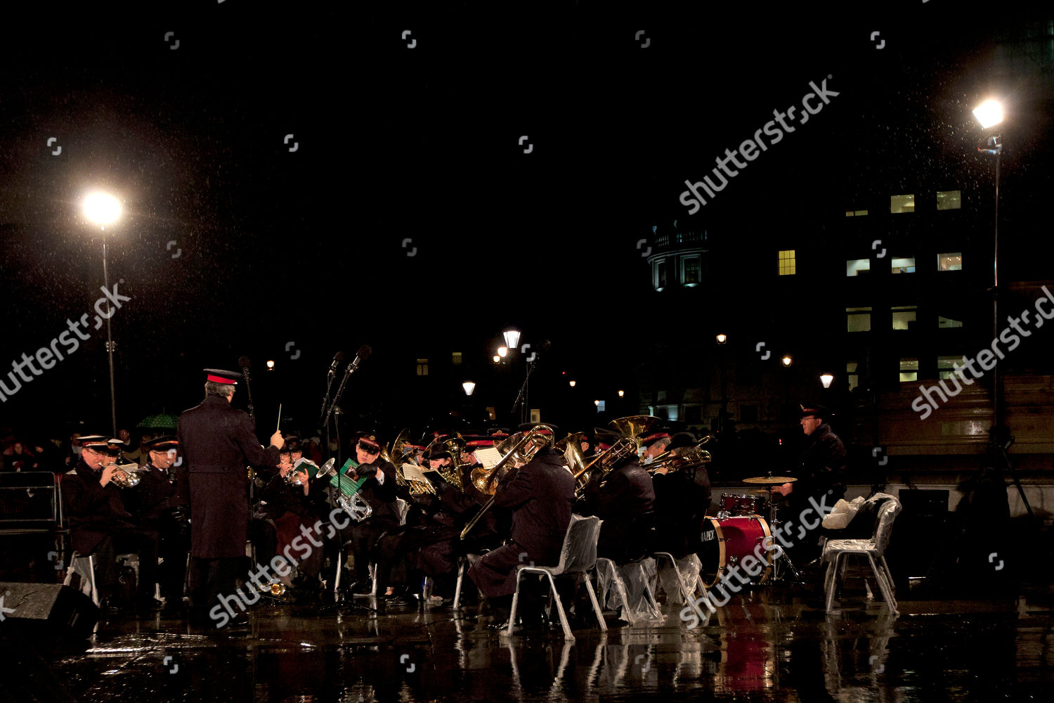 Members Salvation Army Play Music Rain During Editorial Stock Photo