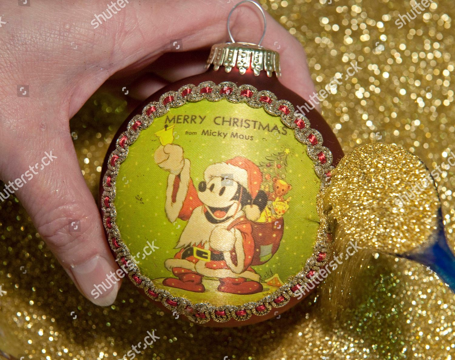 Worker Decorates Disney Christmas Ornament Golden Powder Editorial