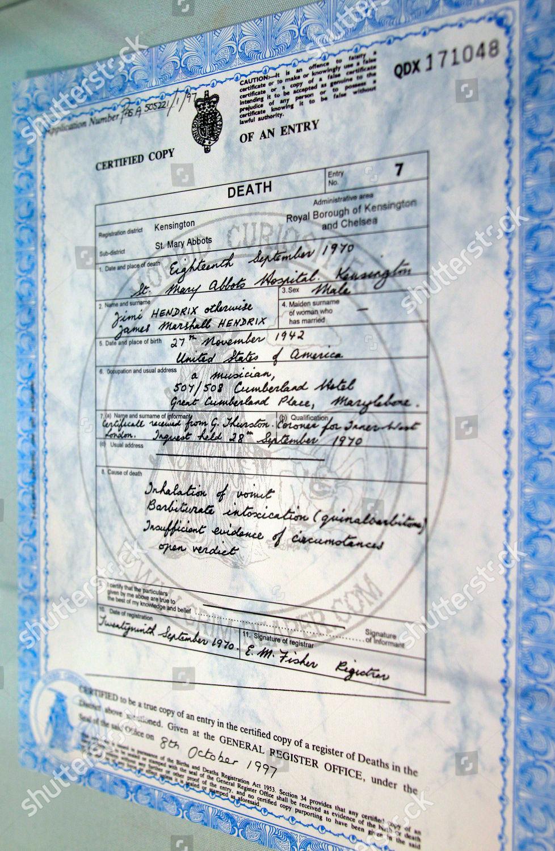 Certified Copy Death Certificate Us Music Legend Stock Photo