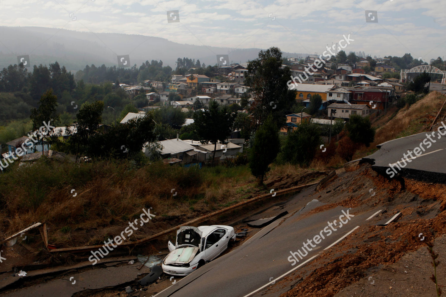damaged vehicle seen next destroyed road Lota Editorial Stock Photo