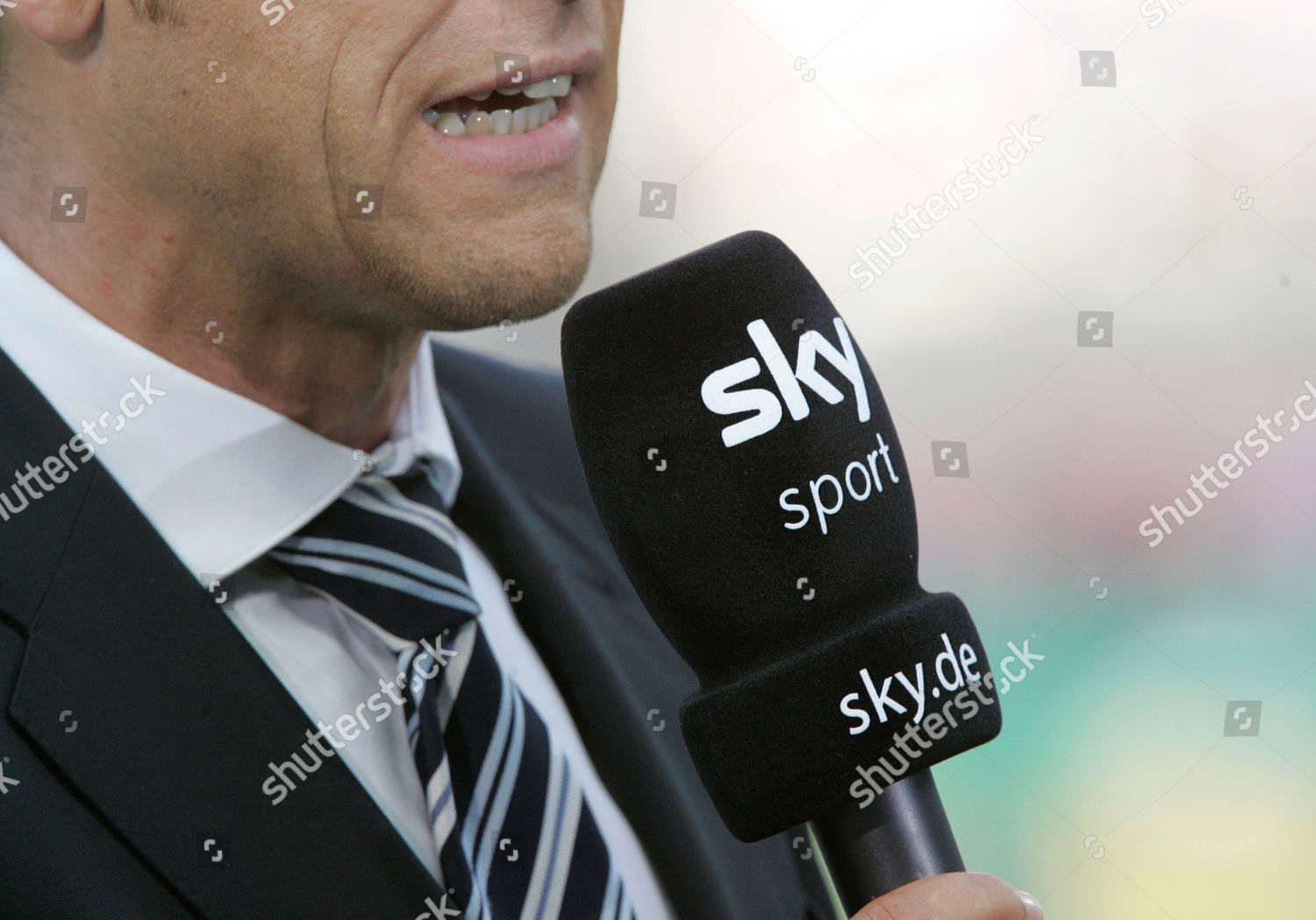 microphone TV channel sky seen prior German Editorial Stock Photo