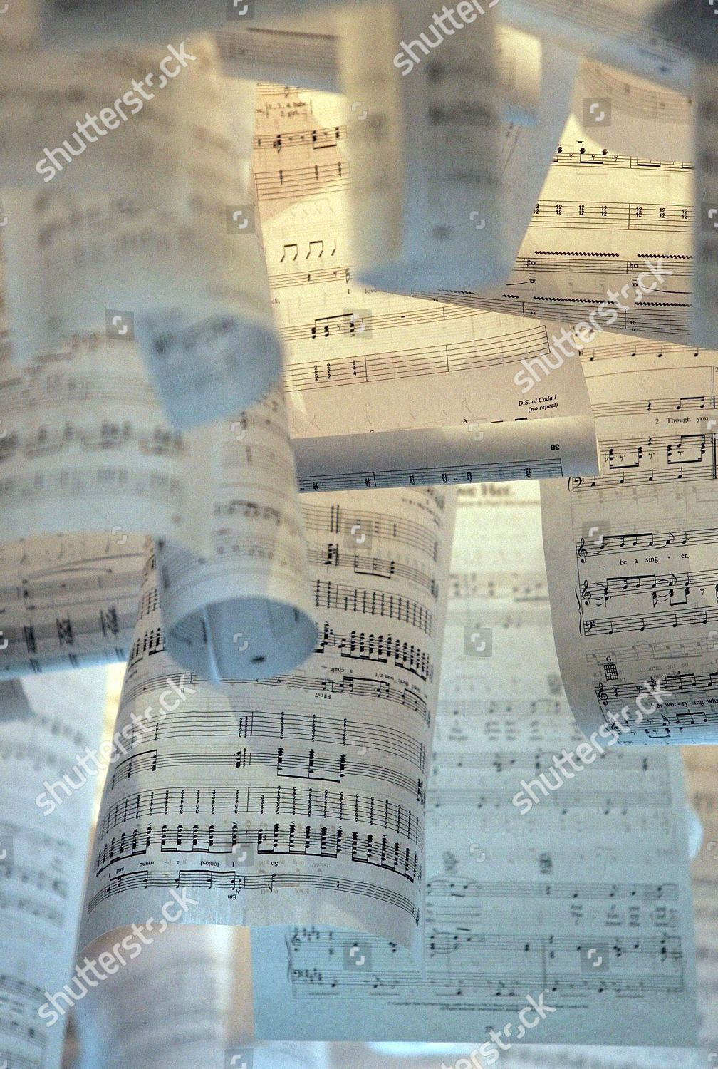 Old Song Sheets Hang Down Ceiling Reception Editorial Stock