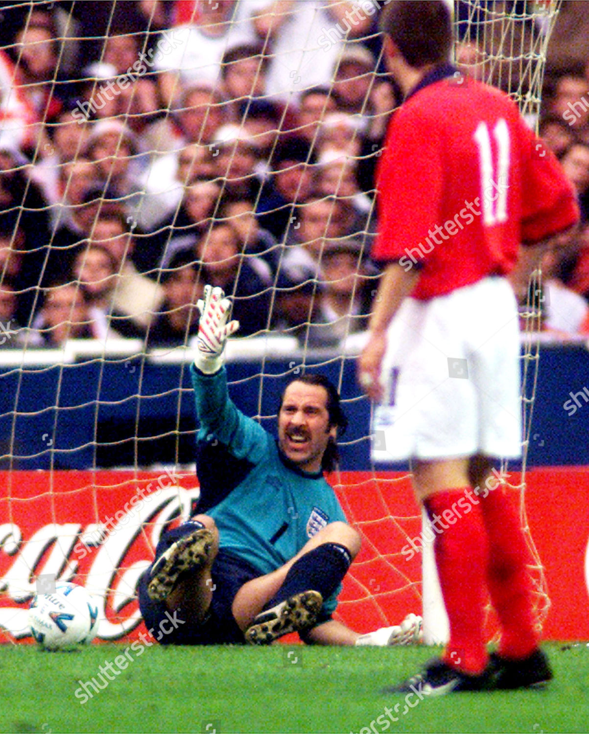 Englands David Seaman Sits On Ground After Editorial Stock