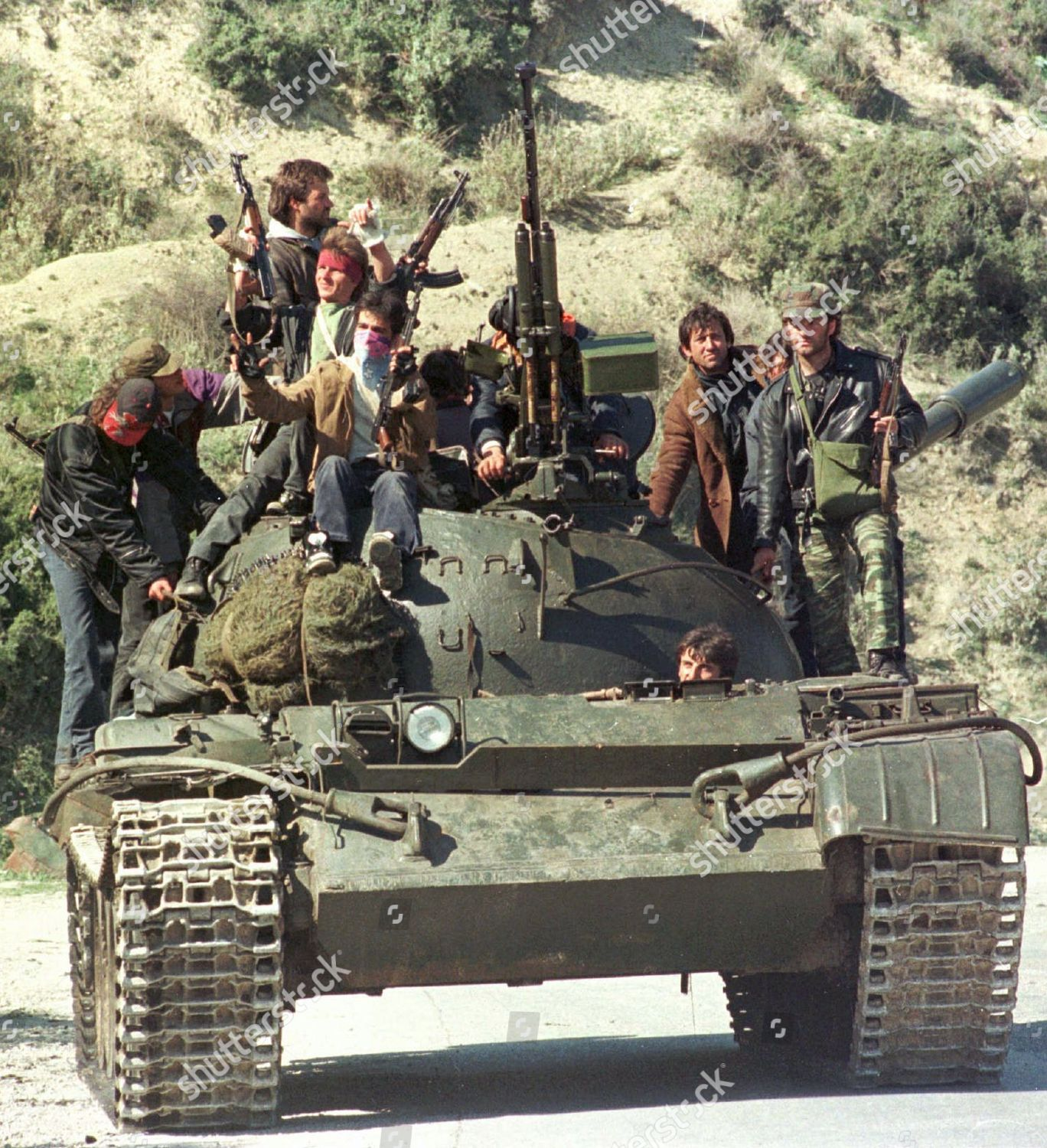 Albanian rebels ride on tank they seized Editorial Stock Photo - Stock  Image | Shutterstock
