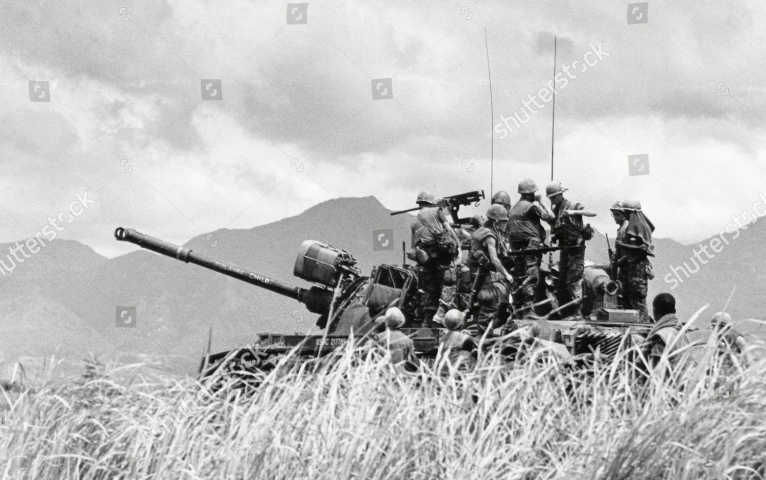 Heavily loaded infantrymen US 101st Airborne Division