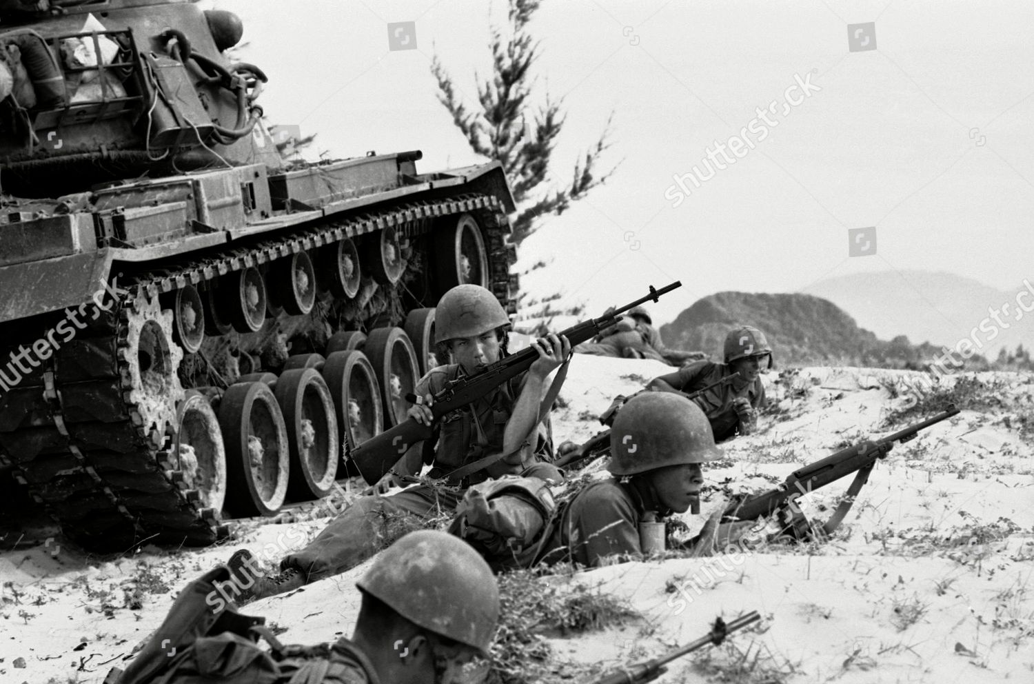 US Vietnamese Marines hold positions sand around Editorial Stock