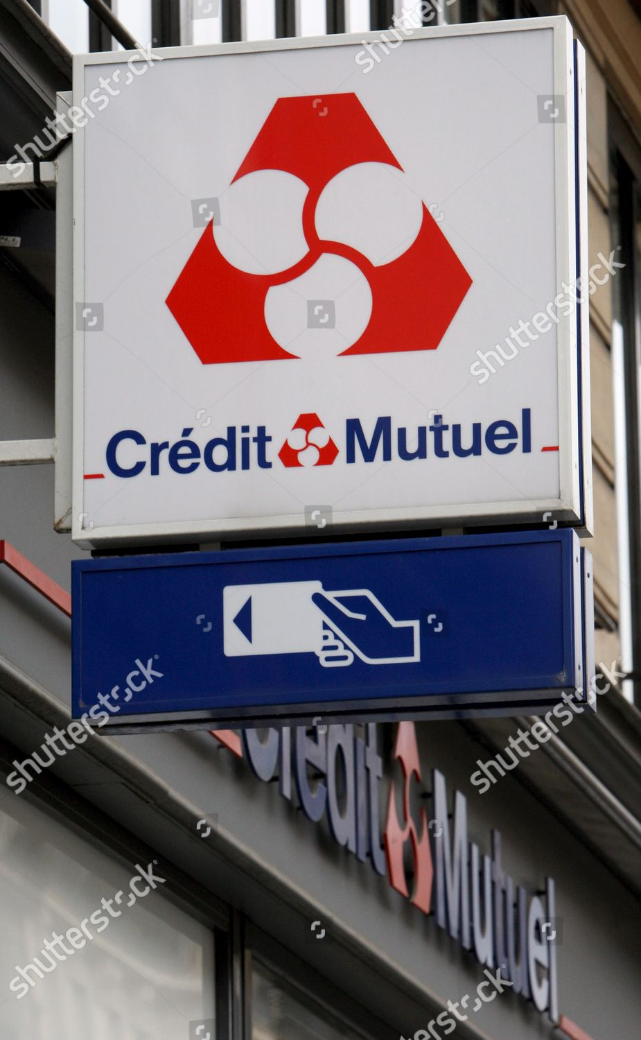 View Sign French Regional Bank Credit Mutuel Editorial Stock