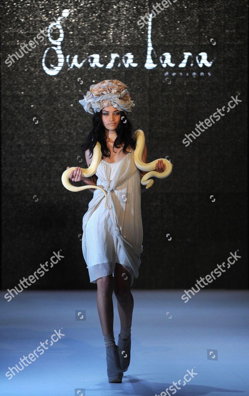 Model Live Python Draped Around Her Neck Editorial Stock
