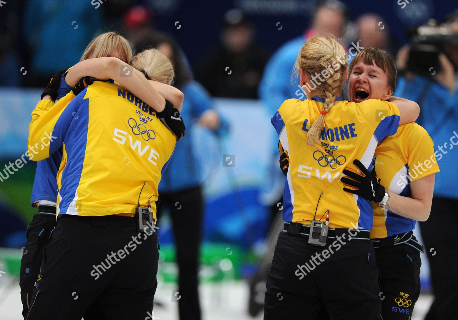 Anette Norberg curlers eva lund hugs anette norberg l editorial stock photo