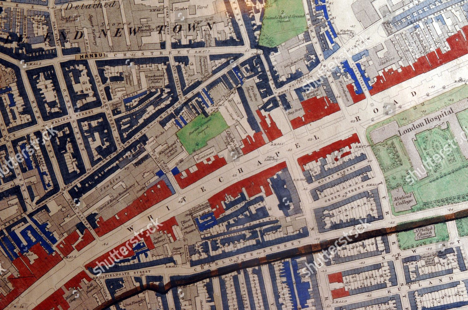 D Exhibition Docklands : Charles booths master map poverty showing part editorial stock photo