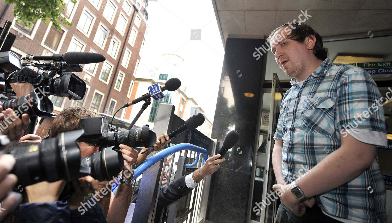 Stock photo of Britain Murdoch Custard Pie Protester Court - Jul 2011