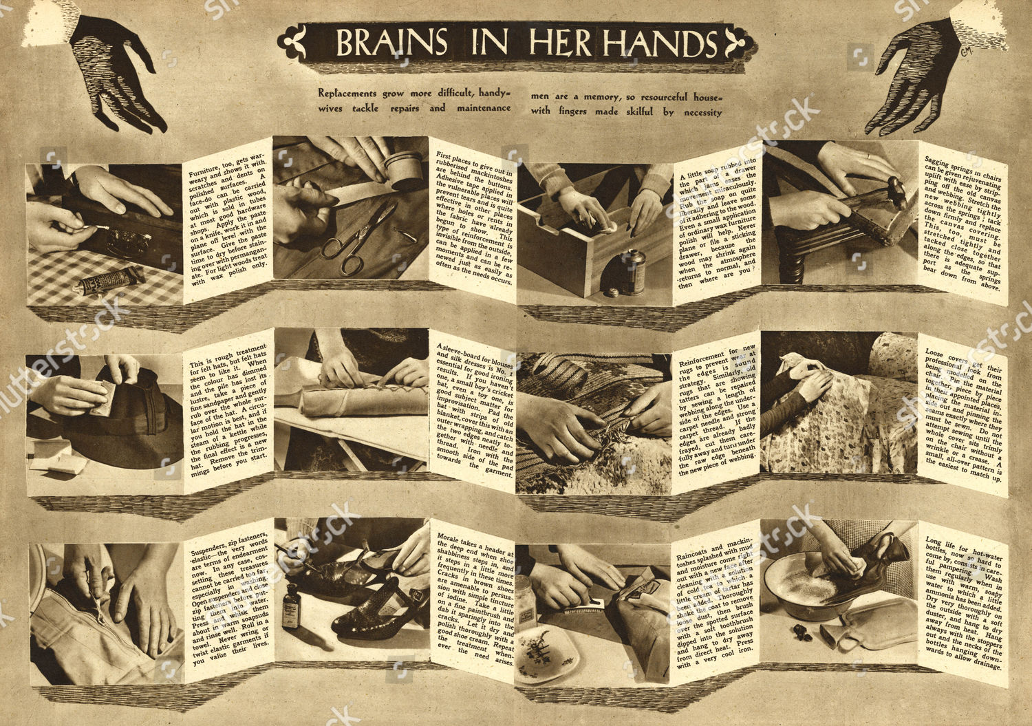 Make Do Mend During World War Two Editorial Stock Photo