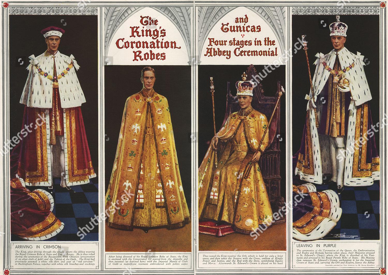 Four Pictures Showing Changes Kings Coronation Robes Foto Editorial Imagem De Banco Shutterstock